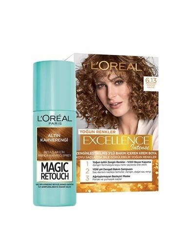 L'Oréal Paris L'Oréal Paris Excellence Intense Saç Boyası 6.13 Mocha Kahve+L'Oréal Paris Magic Retouch Nr. 10 Chatain Dore Renksiz